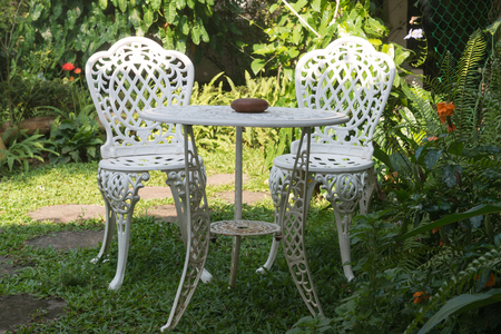 patio furniture: House patio with natural steel patio furniture