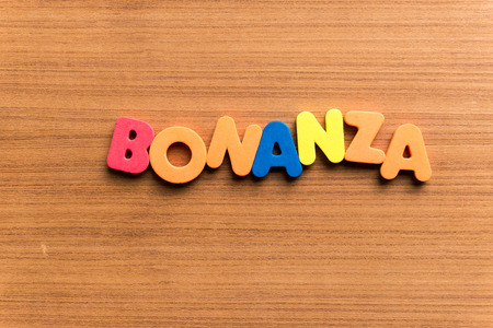 treasure trove: bonanza colorful word on the wooden background