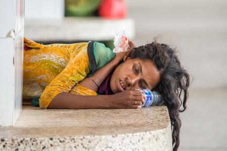 dhaka: Dhaka, Bangladesh - April 29, 2016: Slum people located  Kamalapur Rail Station