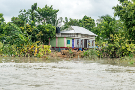 Dohar, Bangladesh - August 5, 2016: Heavy flooding from monsoon rain and tide from river in Dohar, Bangladesh on August 5, 2016