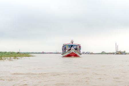 Dhaka, Bangladesh - AUG 27, 2016 : passenger ferry boat in open waters on August 27, 2016 in Dhaka, Bangladesh