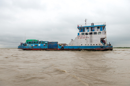 padma: Dhaka, Bangladesh - AUG 27, 2016 : passenger ferry boat in open waters on August 27, 2016 in Dhaka, Bangladesh