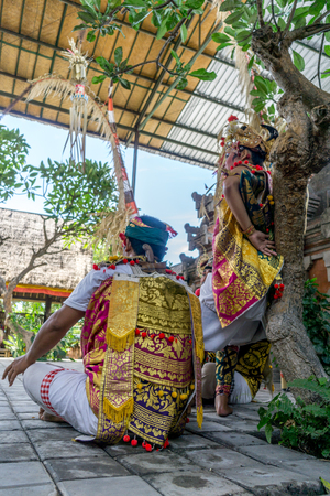 troupe: Bali, Indonesia - December 22, 2016: Barong and Kris Dance performers are performing in Bali, Indonesia on December 22, 2016.