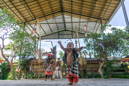Bali, Indonesia - December 22, 2016: Barong and Kris Dance performers are performing in Bali, Indonesia on December 22, 2016.