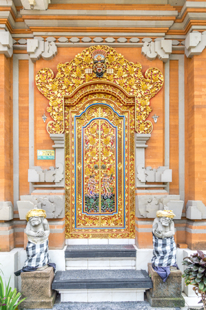 The traditional wood door of a building at bali, indonesia