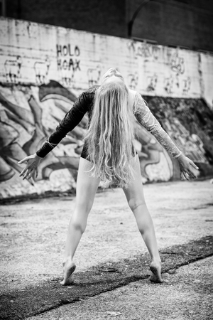 b w: emotional gymnastic girl