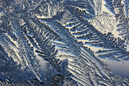 winter pattern of ice crystals on glass.