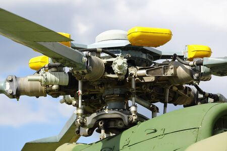 A military helicopter, the blades of a helicopter. case engine helicopters turbine.