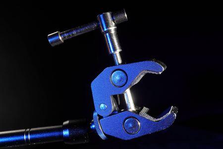 small holder with lock on black background. Archivio Fotografico
