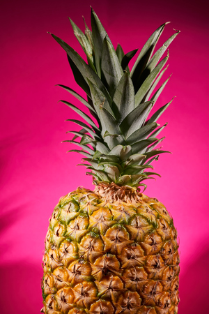 Ripe pineapple on pink background. Close-up shooting.