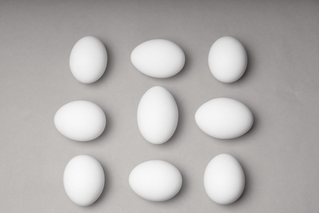 Nine eggs, mock-up. Shooting from the top point.