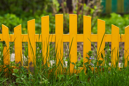 Yellow picket fence with pretty flowers in a yard. Stock Photo