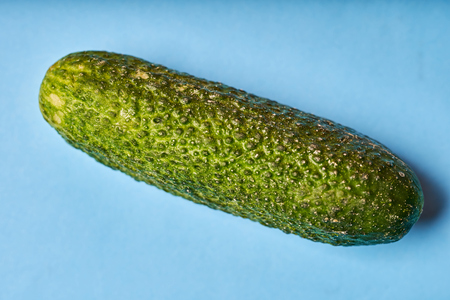 Green cucumber on blue background. Top view.