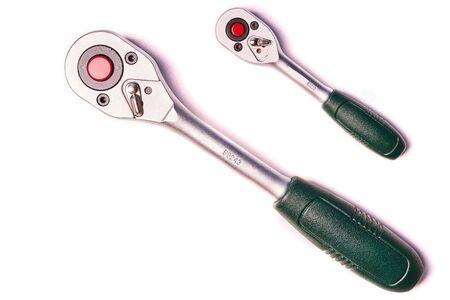 Two ratchet keys isolated on white background.