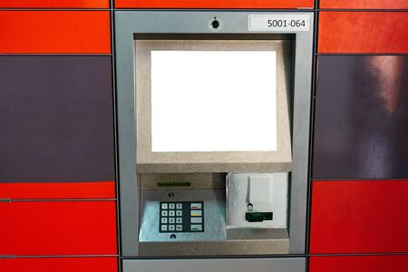 Street ATM teller machine with current operation. Blank screen for mockup. Stockfoto