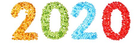 2020 figures made of multicolored beads isolated on white background. Happy New Year 2020. Festive pattern.