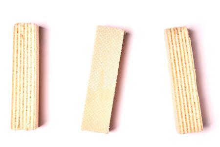 Several vanilla waffles isolated on white background.