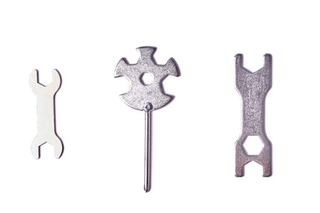 a set of universal keys for repair, isolated on white background.