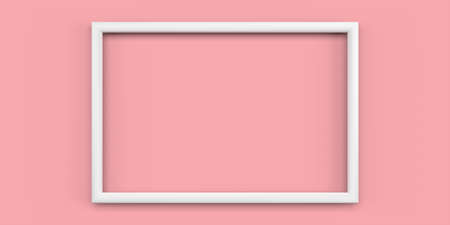 Plastic white picture frame, blank thin frame with empty space for decorative uses. 3d render.