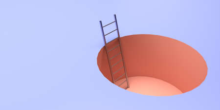 Stairs in a pit on a blue background. Illustration on the theme of the crisis. 3d rendering.