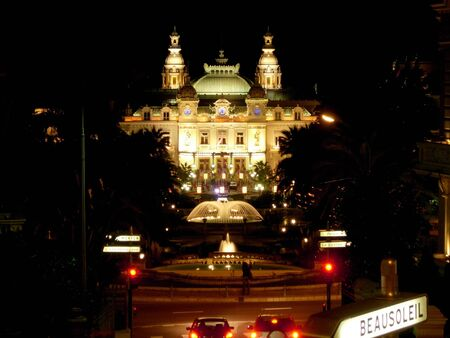 monaco: Monaco casino square at night Stock Photo