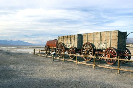 20-Mule Team Borax. Old wagon in Death Valley photo