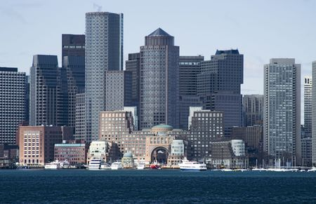 usa cityscape: View of Boston downtown from Boston harbor