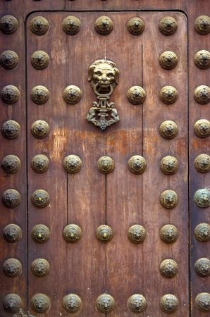 Wooden door of the LIma cathedral 스톡 콘텐츠