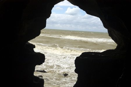 The Atlantic Ocean and sky above as seen from the Cave of Hercules. This is where the mythical figure, Hercules, used to rest after finishing his 12 labours. Tangier. Morocco