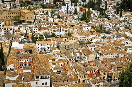 View of Granada city from Alhambra fortress.