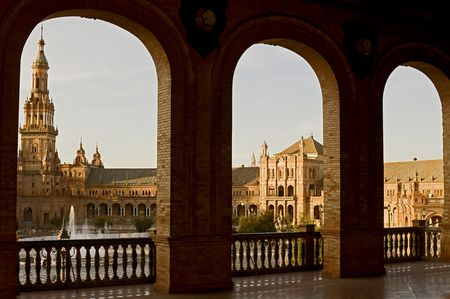 The Plaza in Seville, Spain is built in 1928 for the Ibero-American Exposition of 1929.  Stock fotó