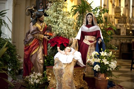 andalusien: Weihnachten-Krippe-Komposition. Sevilla, Andalusien, Spanien