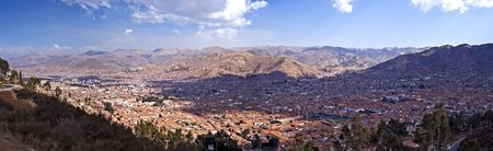 Panorama of the city of Cusco, the historic capital of the Inca Empire. Peru.