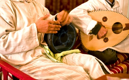 Musicians playing  music on traditional arabic instruments. Stock Photo