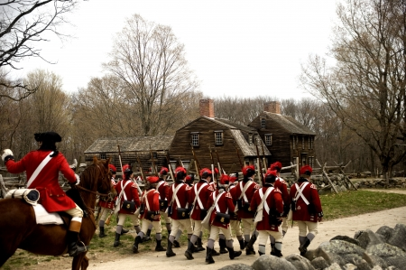 riffle: British Soldiers on Battle Road in Concord, MA