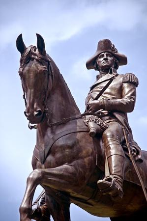 The bronze equestrian statue of George Washington in Boston Public Garden