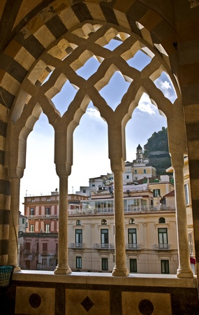 View of of the town of Amalfi from St. Andrew Cathedral. Stock Photo