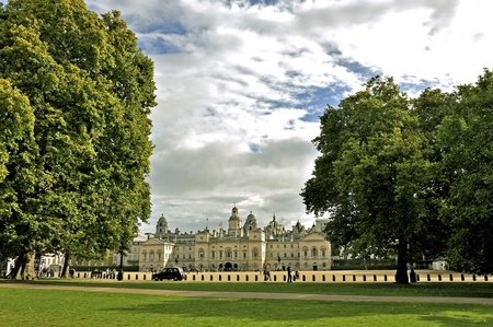 royals: View of Horse Guards from St. James Park. London.