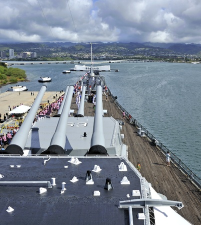 Pearl Harbor, Hawaii - December 7, 2011: View of Pearl Harbor and USS Arizona from the top deck of the USS Missouri during the commemorating of the 70th Anniversary of the Pearl Harbor attack,
