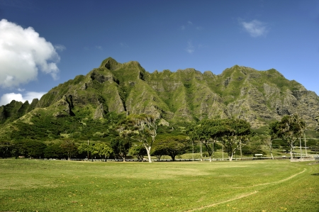 north shore: View of valley and mountains in North Shore, Oahu, Hawaii