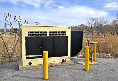 A standby industrial generator Stock Photo