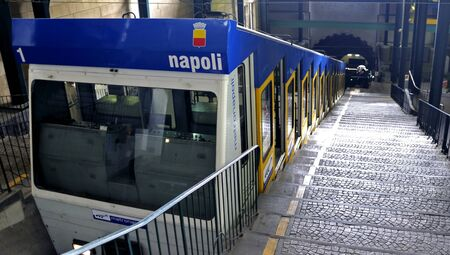 Naples, Italy - January 1, 2011: Funicular train is departing from the railway station. Editorial