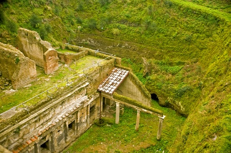 Ruins of ancient town Herculaneum, destroyed by the Vesuvius eruption in 79 AD