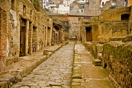 Ruins of ancient town Herculaneum, destroyed by the Vesuvius eruption in 79 AD   Фото со стока