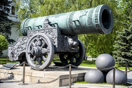 Tzar Cannon, the largest by caliber cannon in the world on display on the grounds of the Moscow Kremlin