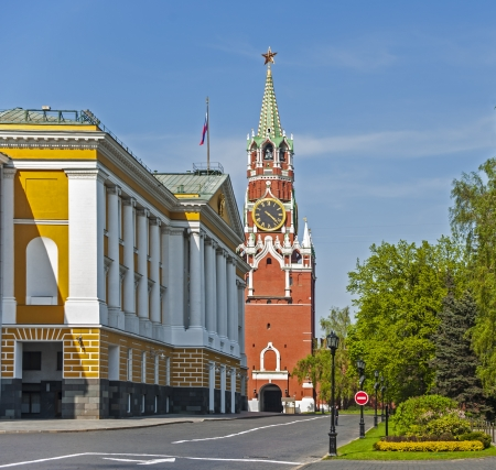 View of Spasskaya Tower in Moscow Kremlin