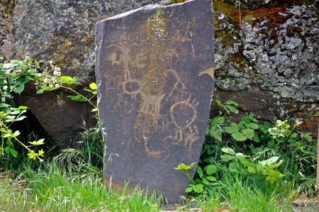 pintura rupestre: Petroglifos del nativo americano Foto de archivo