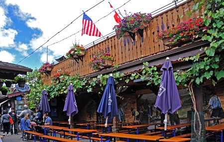 Beer garden in the town of Leavenworth, Washington State