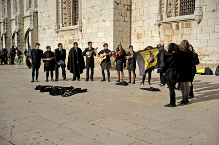 spanish ethnicity: musicians and dancers perform a show at the Jeronimos Monastery.