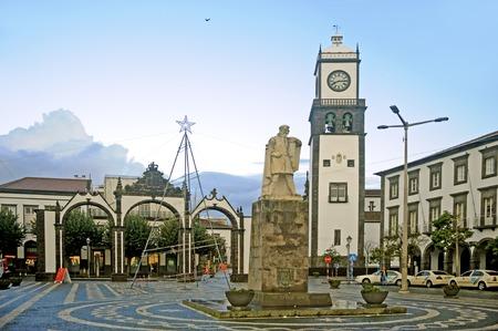 baixa: Baixa Downtown of Ponta Delgada a capitol of the Azores islands Stock Photo